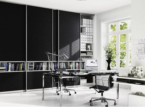 Черный книжный шкаф