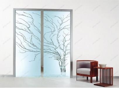 Раздвижные стеклянные двери с рисунком