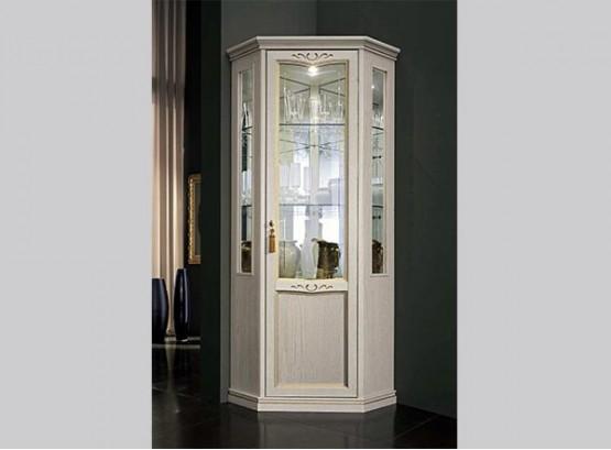 Угловой стеклянный шкаф витрина