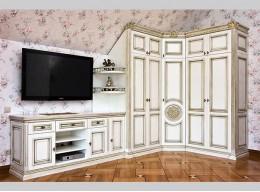 Угловые стенки в комнату с вместительным шкафом