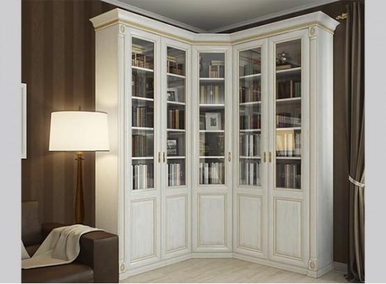 Угловые книжные шкафы со стеклянными дверями