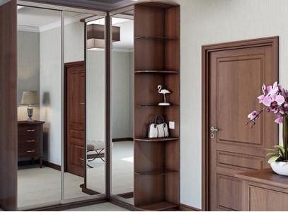 Угловой зеркальный шкаф