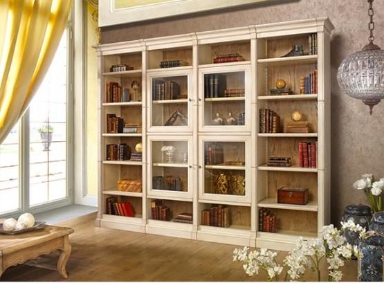 Угловой шкаф для книг со стеклом