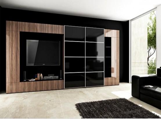 Стенка в комнату со шкафом для одежды