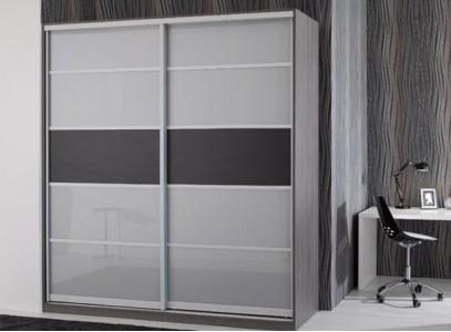 Шкаф купе серый глянец
